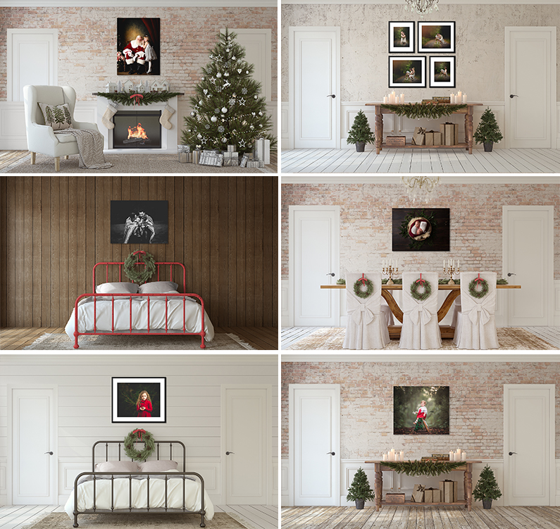 Christmas Holiday Themed Room Views Scene Mockups