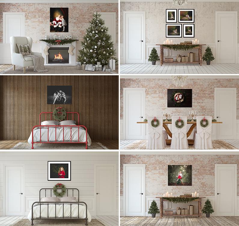 Christmas Holiday Themed Room Views Scene Mockups