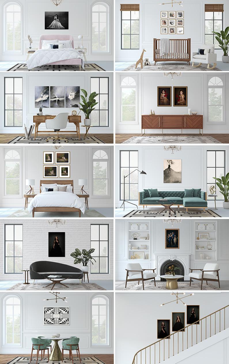 Mid century modern room mockups