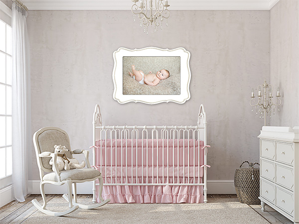 Organic Bloom framed image over crib