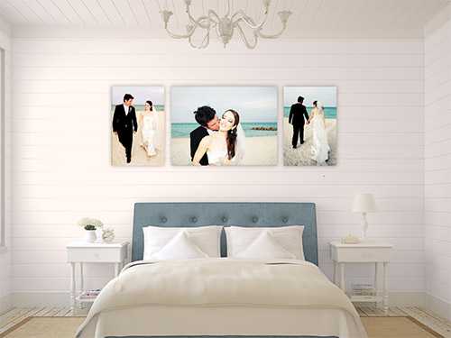trilogy canvas grouping over bed